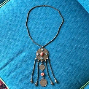 Metal and stone necklace